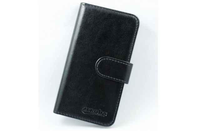 Фирменный чехол-книжка из качественной импортной кожи с подставкой застёжкой и визитницей для CUBOT S500 черный