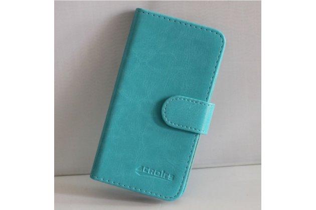 Фирменный чехол-книжка из качественной импортной кожи с подставкой застёжкой и визитницей для CUBOT S500 голубой
