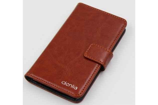 Фирменный чехол-книжка из качественной импортной кожи с подставкой застёжкой и визитницей для CUBOT S500 коричневый