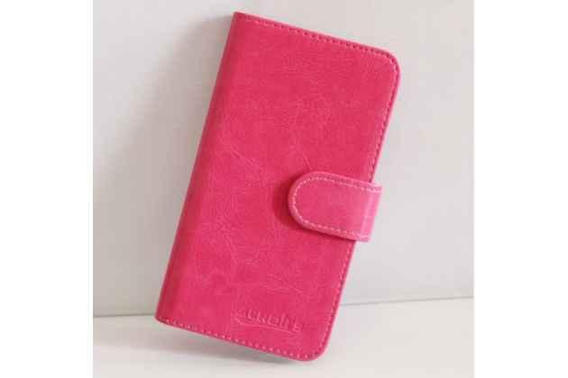 Фирменный чехол-книжка из качественной импортной кожи с подставкой застёжкой и визитницей для CUBOT S500 розовый