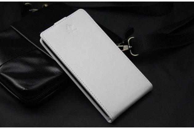 Фирменный оригинальный вертикальный откидной чехол-флип для CUBOT S500 белый из натуральной кожи Prestige Италия