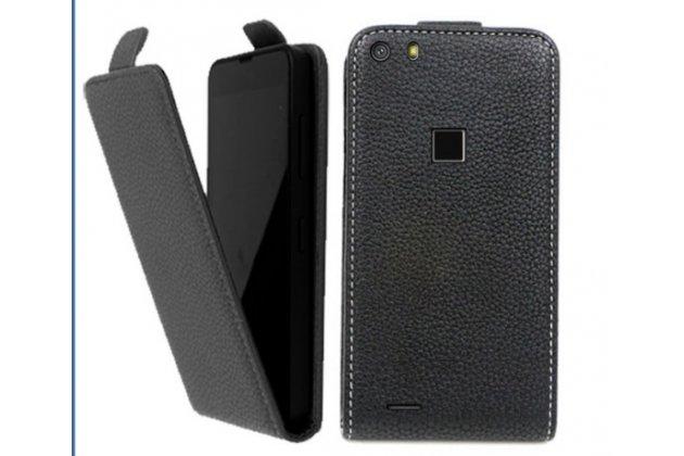 Фирменный оригинальный вертикальный откидной чехол-флип для CUBOT S500 черный из натуральной кожи Prestige Италия