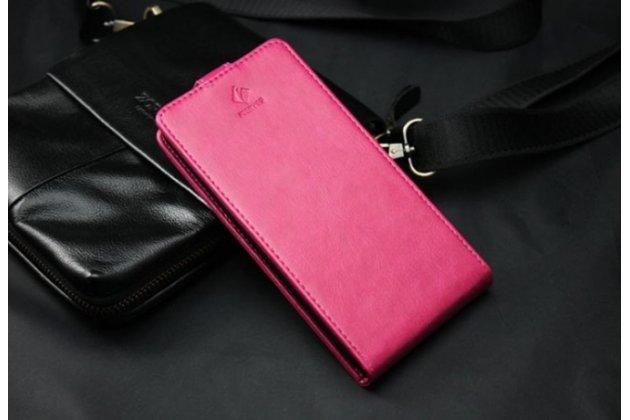 Фирменный оригинальный вертикальный откидной чехол-флип для CUBOT S500 розовый из натуральной кожи Prestige Италия