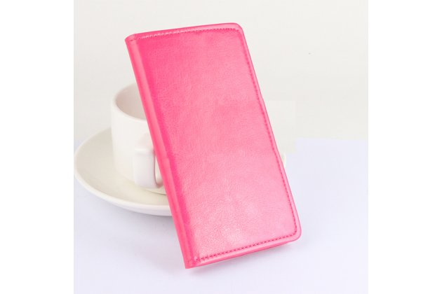 Фирменный чехол-книжка из качественной импортной кожи с подставкой застёжкой и визитницей для CUBOT S550 розовый