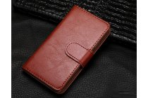 Фирменный чехол-книжка из качественной импортной кожи с подставкой застёжкой и визитницей для Cubot S9 коричневый