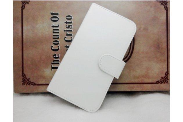 Фирменный чехол-книжка из качественной импортной кожи с подставкой застёжкой и визитницей для CUBOT T9 белый