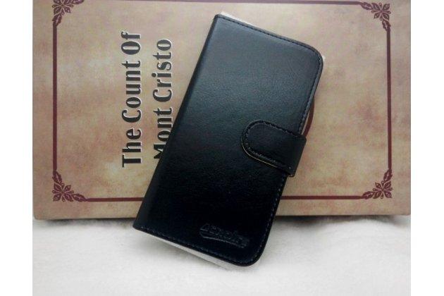 Фирменный чехол-книжка из качественной импортной кожи с подставкой застёжкой и визитницей для CUBOT T9 черный