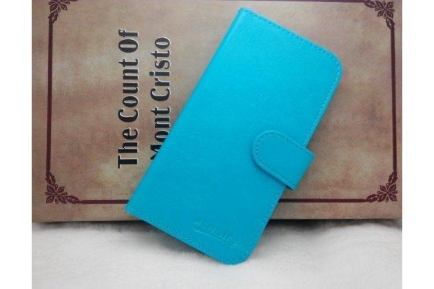 Фирменный чехол-книжка из качественной импортной кожи с подставкой застёжкой и визитницей для CUBOT T9 голубой