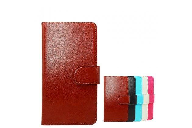 Фирменный чехол-книжка из качественной импортной кожи с подставкой застёжкой и визитницей для CUBOT T9 коричневый