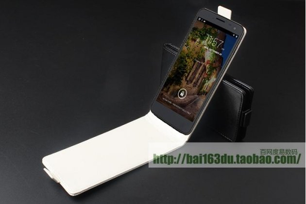 Фирменный оригинальный вертикальный откидной чехол-флип для CUBOT T9 белый из натуральной кожи Prestige Италия