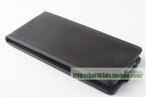 Фирменный оригинальный вертикальный откидной чехол-флип для CUBOT T9 черный из натуральной кожи Prestige Италия