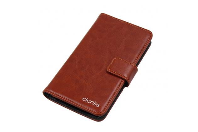 Фирменный чехол-книжка из качественной импортной кожи с подставкой застёжкой и визитницей для Cubot Z100 Pro коричневый