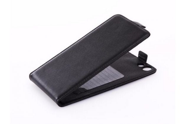 Фирменный оригинальный вертикальный откидной чехол-флип для Cubot Z100 Pro черный из натуральной кожи Prestige Италия