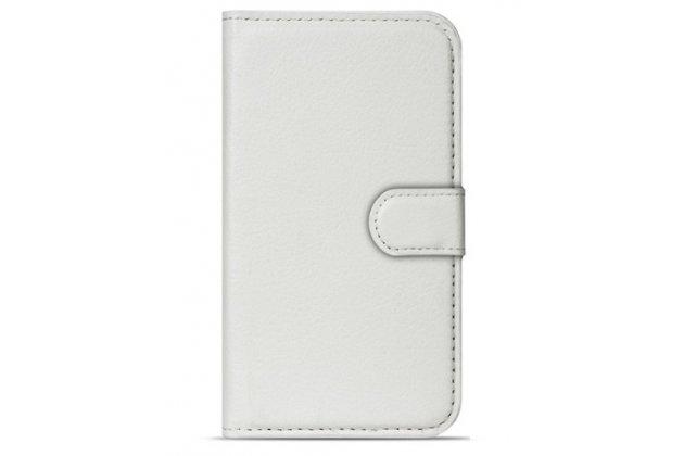 Фирменный чехол-книжка из качественной импортной кожи с подставкой застёжкой и визитницей для CUBOT Z100 белый