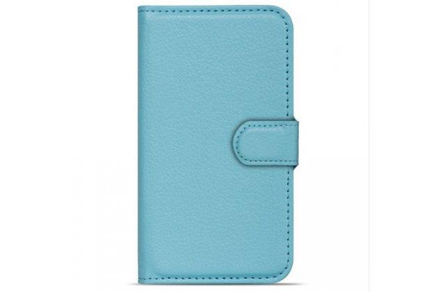 Фирменный чехол-книжка из качественной импортной кожи с подставкой застёжкой и визитницей для CUBOT Z100 голубой