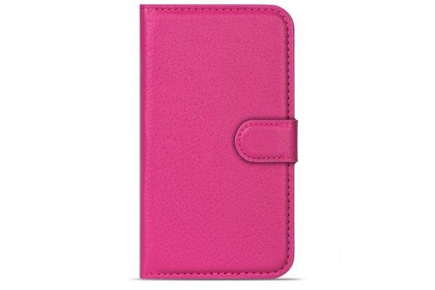Фирменный чехол-книжка из качественной импортной кожи с подставкой застёжкой и визитницей для CUBOT Z100 розовый