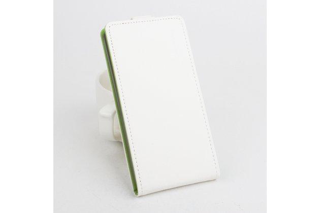Фирменный оригинальный вертикальный откидной чехол-флип для CUBOT Z100 белый из натуральной кожи Prestige Италия