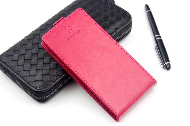 Оригинальный чехол-флип для Digma Linx C500 Красный из натуральной кожи Prestige Италия