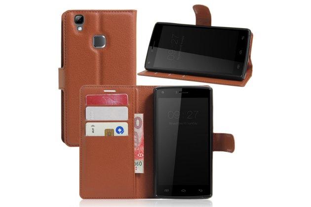Фирменный чехол-книжка из качественной импортной кожи с подставкой застёжкой и визитницей для Doogee F3/F3 Pro коричневый