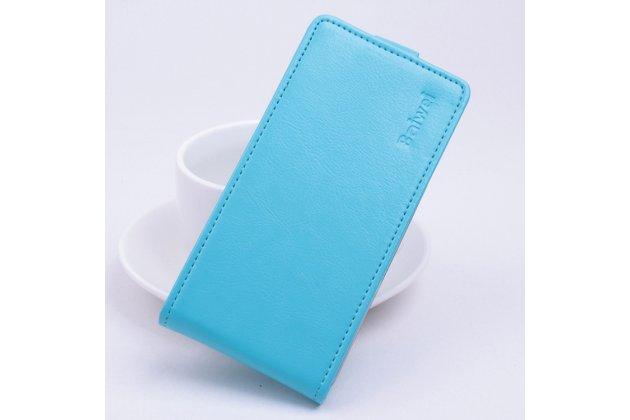 Фирменный оригинальный вертикальный откидной чехол-флип для Doogee F3/F3 Pro голубой из натуральной кожи Prestige