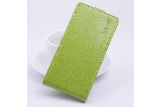 Фирменный оригинальный вертикальный откидной чехол-флип для Doogee F3/F3 Pro зеленый из натуральной кожи Prestige