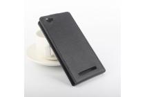 Фирменный оригинальный вертикальный откидной чехол-флип для DOOGEE Homtom HT6 черный из натуральной кожи Prestige