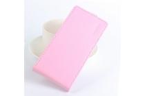Фирменный оригинальный вертикальный откидной чехол-флип для DOOGEE Homtom HT6 розовый из натуральной кожи Prestige