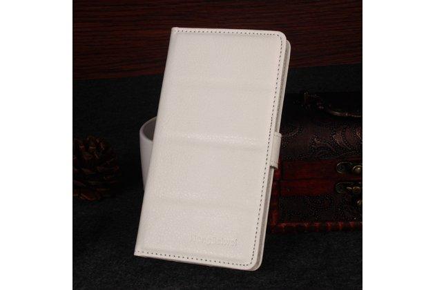 Фирменный чехол-книжка из качественной импортной кожи с подставкой застёжкой и визитницей для DOOGEE Homtom HT6 белый
