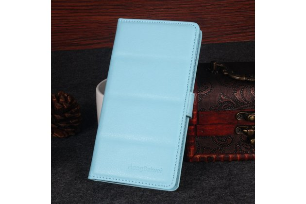 Фирменный чехол-книжка из качественной импортной кожи с подставкой застёжкой и визитницей для DOOGEE Homtom HT6 голубой