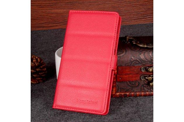 Фирменный чехол-книжка из качественной импортной кожи с подставкой застёжкой и визитницей для DOOGEE Homtom HT6 красный