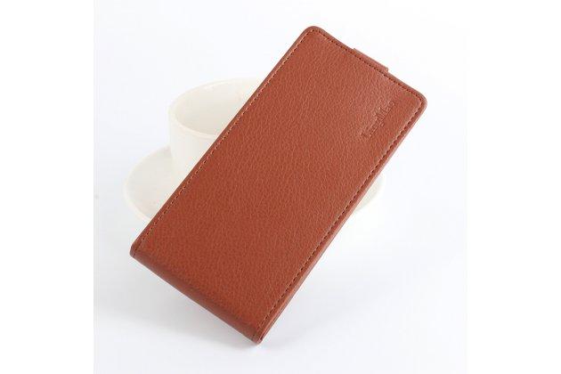 Фирменный оригинальный вертикальный откидной чехол-флип для DOOGEE Homtom HT6 коричневый из натуральной кожи Prestige