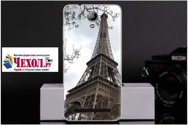 Фирменная роскошная задняя панель-чехол-накладка  из мягкого силикона с безумно красивым расписным 3D рисунком на Doogee X7 Pro тематика Париж
