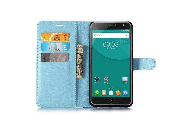 Фирменный чехол-книжка из качественной импортной кожи с подставкой застёжкой и визитницей для Doogee X7 Pro голубой