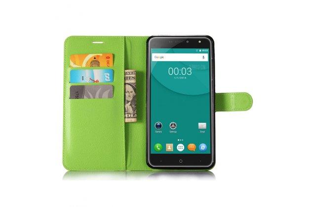Фирменный чехол-книжка из качественной импортной кожи с подставкой застёжкой и визитницей для Doogee X7 Pro зеленый