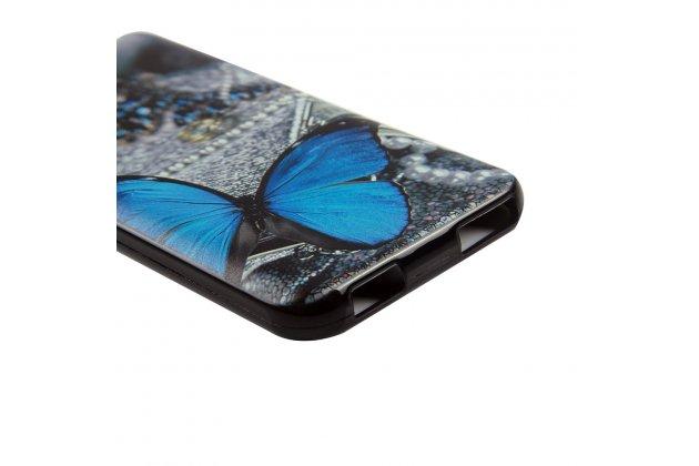 Фирменная роскошная задняя панель-чехол-накладка  из мягкого силикона с безумно красивым расписным 3D рисунком на Doogee X9 Mini тематика Голубая Бабочка