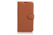 Фирменный чехол-книжка из качественной импортной кожи с подставкой застёжкой и визитницей для Doogee X9 Mini коричневый