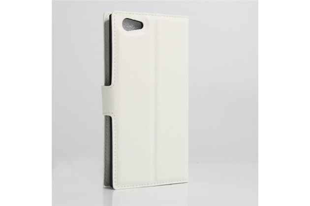 Фирменный чехол-книжка из качественной импортной кожи с подставкой застёжкой и визитницей для DOOGEE Y300 белый