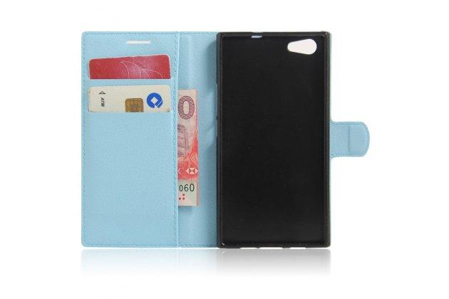 Фирменный чехол-книжка из качественной импортной кожи с подставкой застёжкой и визитницей для DOOGEE Y300 голубой