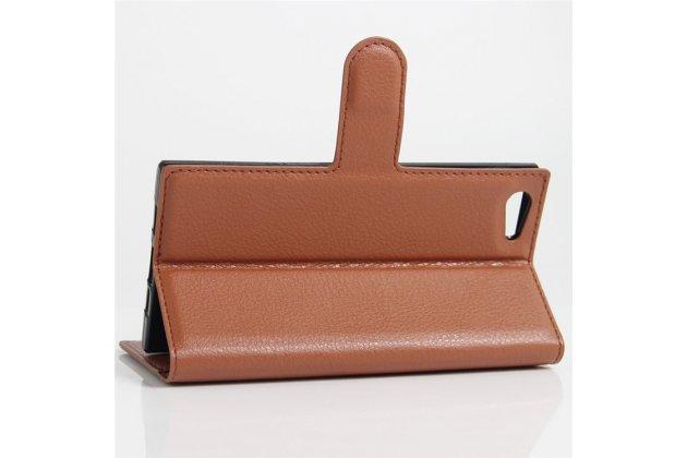 Фирменный чехол-книжка из качественной импортной кожи с подставкой застёжкой и визитницей для DOOGEE Y300 коричневый