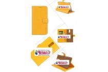 Фирменный чехол-книжка из качественной импортной кожи с подставкой застёжкой и визитницей для Doogee Y6 Max/Y6 Max 3D желтый