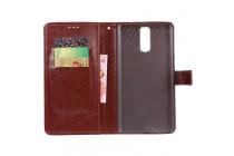 Фирменный чехол-книжка из качественной импортной кожи с подставкой застёжкой и визитницей для Doogee Y6 Max/Y6 Max 3D коричневый