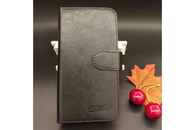 Фирменный чехол-книжка из качественной импортной кожи с визитницей для Fly FS553 Cirrus 9 черный