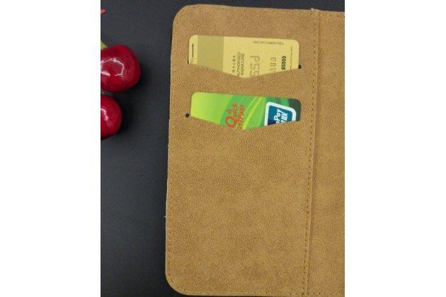 Фирменный чехол-книжка из качественной импортной кожи с визитницей для Fly FS553 Cirrus 9 коричневый