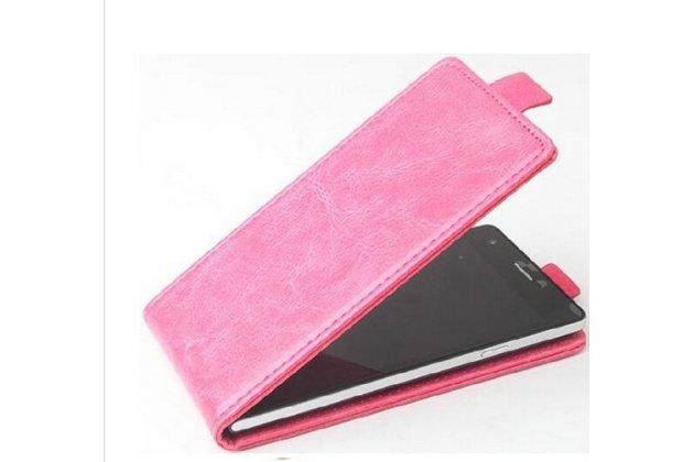 Фирменный оригинальный вертикальный откидной чехол-флип для Fly FS553 Cirrus 9 розовый