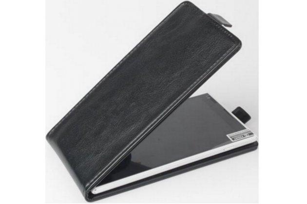 Фирменный оригинальный вертикальный откидной чехол-флип для Fly FS403 Cumulus 1 черный из натуральной кожи Prestige Италия