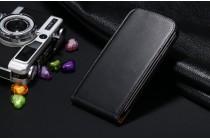 Фирменный оригинальный вертикальный откидной чехол-флип для Samsung Galaxy S8 SM-G9500 черный из натуральной кожи Prestige Италия