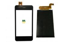 Фирменный LCD-ЖК-сенсорный дисплей-экран-стекло с тачскрином на телефон Fly FS406 Stratus 5 черный + гарантия