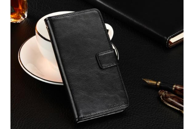 Фирменный чехол-книжка из качественной импортной кожи с подставкой застёжкой и визитницей для Fly FS407 Stratus 6 черный