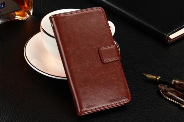 Фирменный чехол-книжка из качественной импортной кожи с подставкой застёжкой и визитницей для Fly FS407 Stratus 6 коричневый
