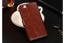 Фирменный чехол-книжка из качественной импортной кожи с подставкой застёжкой и визитницей для Fly Nimbus 8 FS454 коричневый